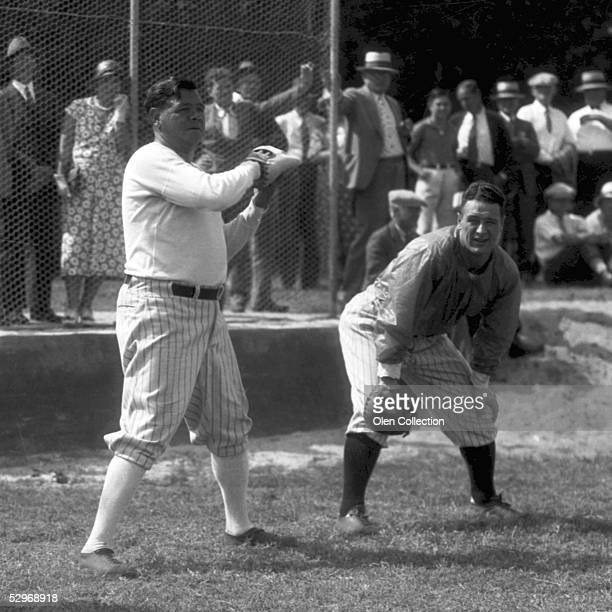 Babe Ruth and Lou Gehrig of the New York Yankees play 'pepper' during March 1932 Spring Training in St Petersburg Florida