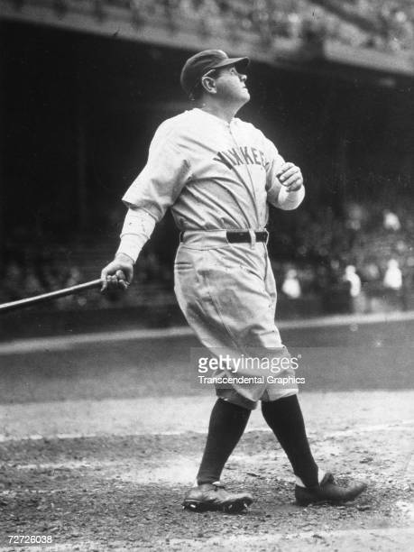 Babe Ruth hits one out during batting practice at Yankee Stadium before a game in 1931