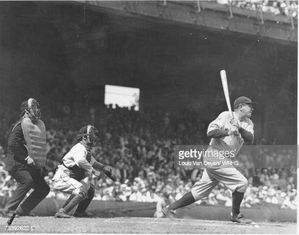 Babe Ruth lines a single to right field at League Park The Yankees lost to the Indians 85 Ruth singled twice and struck out twice in a losing effort