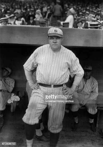 Babe Ruth Major League Baseball Player New York Yankees Portrait Standing in Dugout Bain News Service 1921