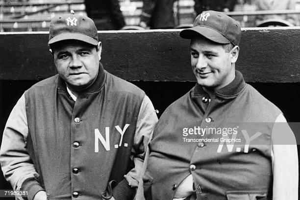 NEW YORK APRIL 18 1929 Babe Ruth New York Yankees outfielder left talks with teammate and first baseman Lou Gehrig in April of 1929