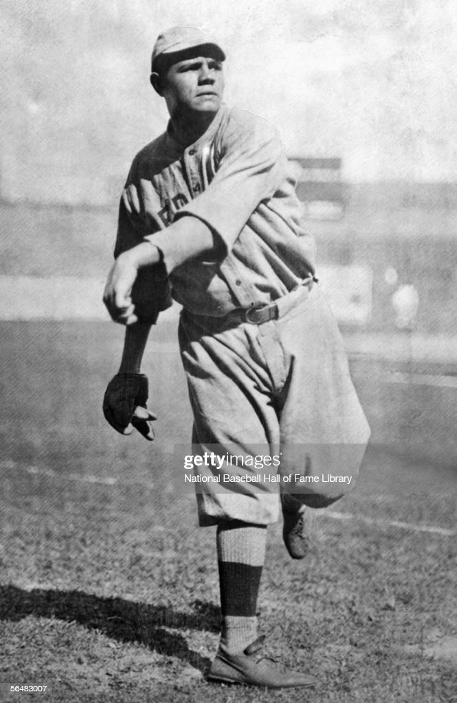 <a gi-track='captionPersonalityLinkClicked' href=/galleries/search?phrase=Babe+Ruth&family=editorial&specificpeople=94423 ng-click='$event.stopPropagation()'>Babe Ruth</a> of the Boston Red Sox throws the ball before a game. <a gi-track='captionPersonalityLinkClicked' href=/galleries/search?phrase=Babe+Ruth&family=editorial&specificpeople=94423 ng-click='$event.stopPropagation()'>Babe Ruth</a> played for the Boston Red Sox from 1914-1919.