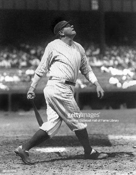 Babe Ruth of the New York Yankees follows his hit during a game Babe Ruth played for the New York Yankees from 19201934