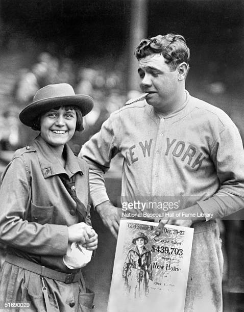 Babe Ruth of the New York Yankees poses for a photo with a Girl Scout circa 1924 Babe Ruth played for the New York Yankees from 19201934