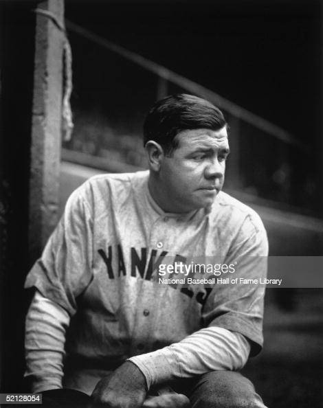 Babe Ruth of the New York Yankees poses for a portrait in the dugout George Herman Ruth played for the Yankees from 192034