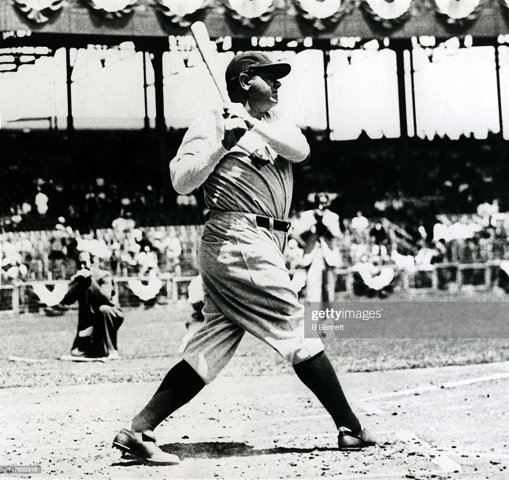 Babe Ruth of the New York Yankees swings at a pitch circa 1920