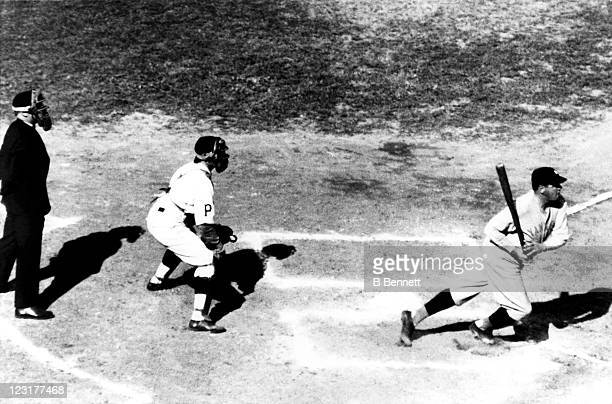 Babe Ruth of the New York Yankees swings at a pitch during a 1927 World Series game against the Pittsburgh Pirates in October 1927 at Forbes Field in...