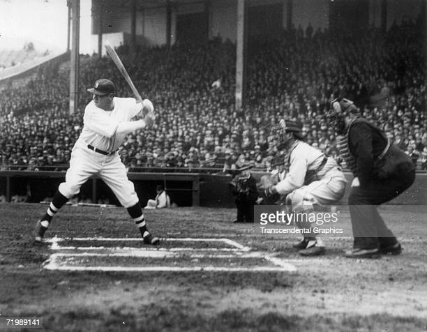 Babe Ruth outfielder for the Boston Braves prepares to take a mighty cut at an incoming pitch during a game against the New York Giants on April 16...