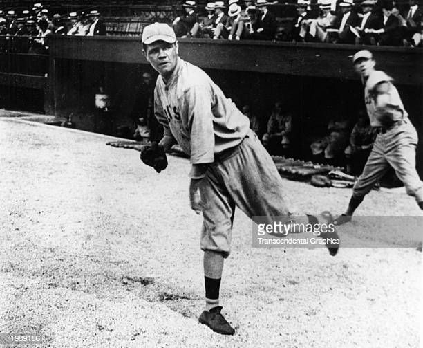 Babe Ruth pitcher for the Boston Red Sox warms up before a game in League Park in Cleveland in 1919