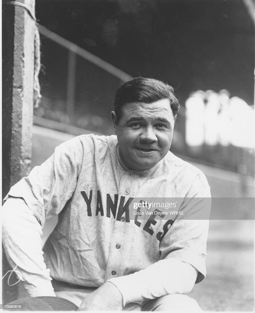 Babe Ruth portrait visitors dugout League Park The game between the Indians and Yankees was eventually rained out and rescheduled for a later date