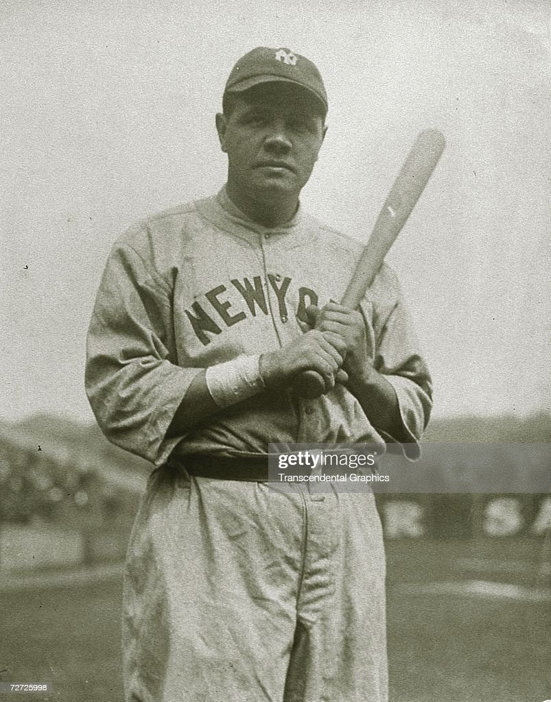 NEW YORK C1924 Babe Ruth poses for an atmospheric shot during a spring training stopover in an unknown ballpark about 1924