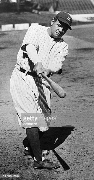 Babe Ruth professional baseball player in a typical batting stance Photograph 1920s
