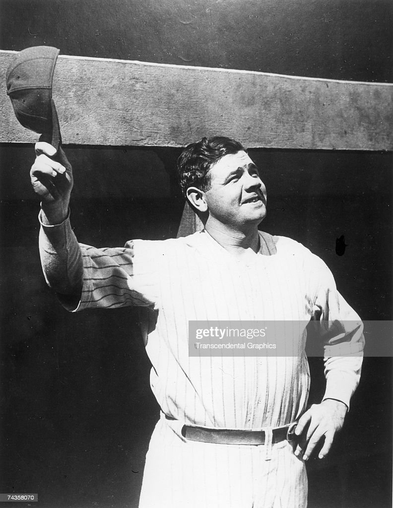 NEW YORK - C.1927. <a gi-track='captionPersonalityLinkClicked' href=/galleries/search?phrase=Babe+Ruth&family=editorial&specificpeople=94423 ng-click='$event.stopPropagation()'>Babe Ruth</a> salutes the crowd in Yankee Stadium with a doff of his hat, sometime around 1927.