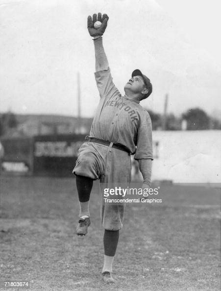 SHREVEPORT LOUISIANA MARCH 1921 Babe Ruth strikes a fielding pose during workouts at the New York Yankees spring training site in Shreveport...