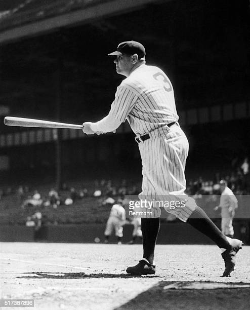 Babe Ruth swinging at a ball Photograph no date