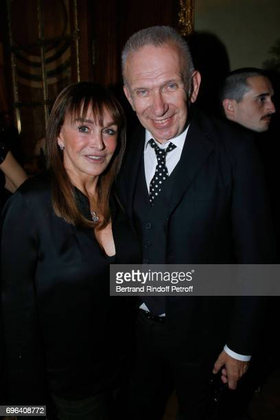 Babeth Djian and JeanPaul Gaultier attend the JeanPaul Gaultier 'Scandal' Fragrance Launch at Hotel de Behague on June 15 2017 in Paris France