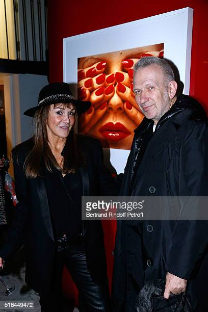 Babeth Djian and Stylist JeanPaul Gaultier attend the 'Guy Bourdin Portraits' Exhibition Opening and Cocktail at Studio des Acacias on March 31 2016...