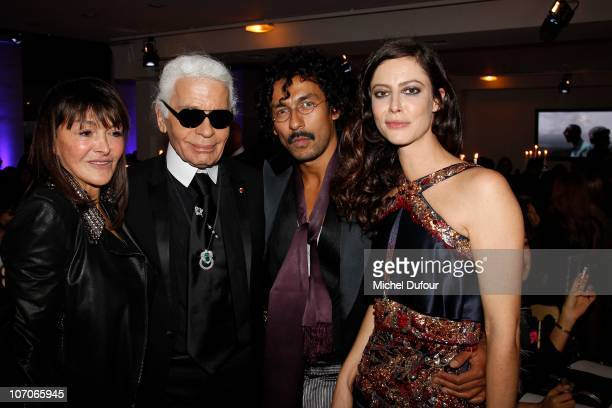 Babeth Djian Karl Lagerfeld Haider Ackermann and Anna Mouglalis attend the Babeth Djian Charity Dinner for AEM Rwanda at Espace Cardin on November 21...