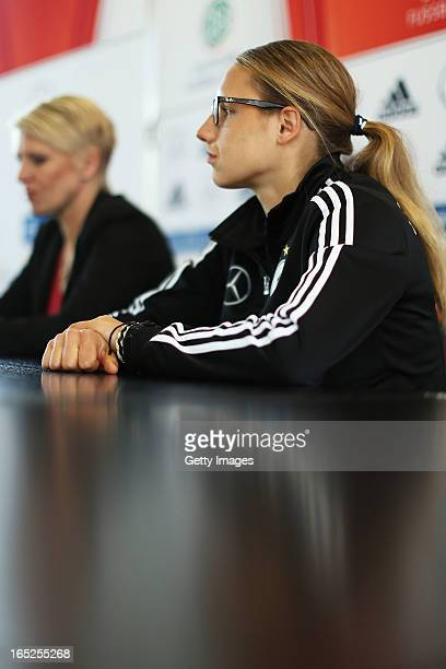Babett Peter and Manager Doris Fitschen of Germany attend a press conference at the DFB headquarter on April 2 2013 in Frankfurt am Main Germany