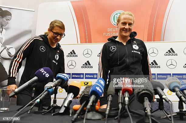 Babett Peter and Melanie Behringer of Germany attend a press conference at Montreal Convention Centre on June 27 2015 in Montreal Canada