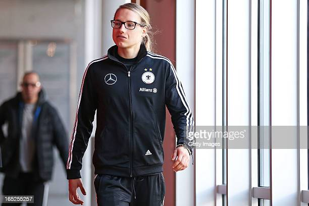 Babett Peter of Germany arrives for a press conference at the DFB headquarter on April 2 2013 in Frankfurt am Main Germany