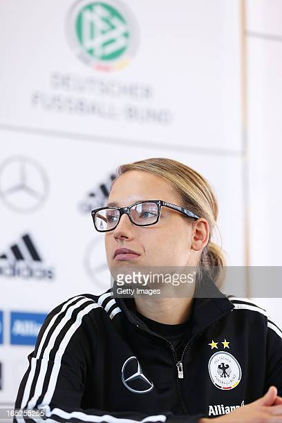Babett Peter of Germany attends a press conference at the DFB headquarter on April 2 2013 in Frankfurt am Main Germany