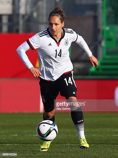 Babett Peter of Germany controles the ball during the Women's International Friendly match between Germany and Brazil at TrolliArena on April 8 2015...