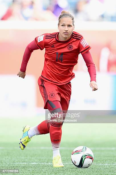 Babett Peter of Germany controls the ball during the FIFA Women's World Cup Canada 2015 Group B match between Thailand and Germany at Winnipeg...