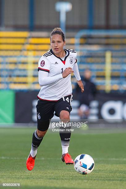 Babett Peter of Germany controls the ball during the UEFA Women's Euro 2017 Qualifier between Hungary and Germany at Gyirmot Stadium on September 20...