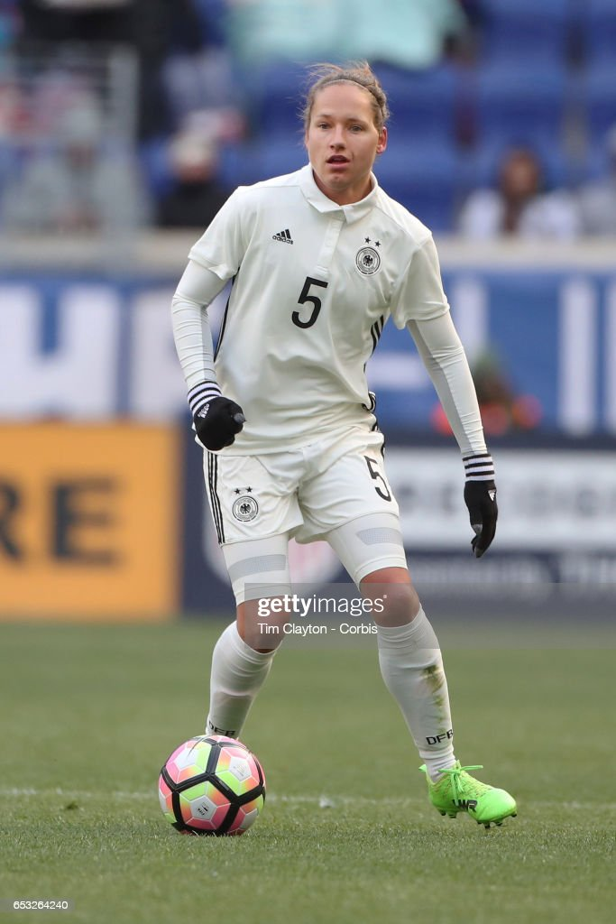 Babett Peter #5 of Germany in action during the France Vs Germany SheBelieves Cup International match at Red Bull Arena on March 4, 2017 in Harrison, New Jersey.
