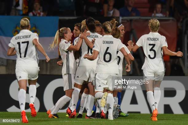 Babett Peter of Germany is celebrated after scoring a penalty during the UEFA Women's Euro 2017 Group B match between Germany and Italy at Koning...