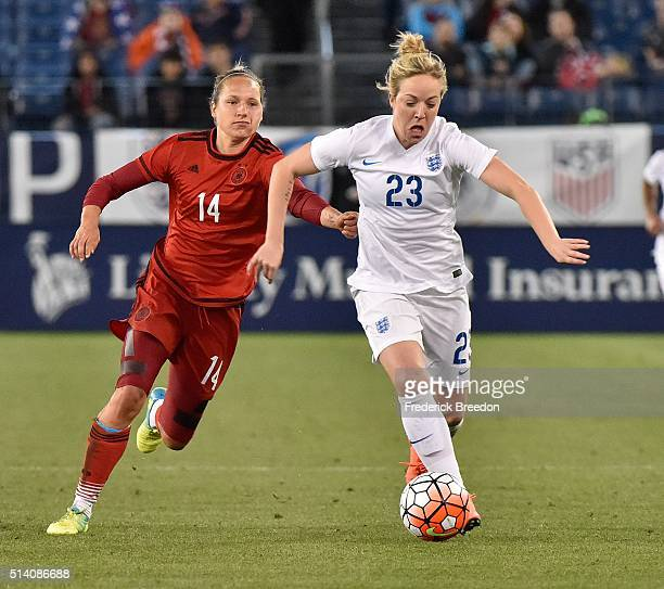 Babett Peter of Germany plays against Gemma Davison of England during the second half of a friendly international match in the Shebelieves Cup at...