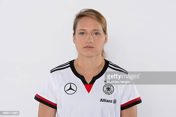 Babett Peter of Germany poses for a portrait during the DFB Women's Marketing Day at the CommerzbankArena on January 14 2015 in Frankfurt am Main...
