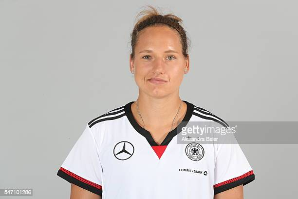 Babett Peter of the German women's national football team poses during the team presentation on June 21 2016 in Grassau Germany