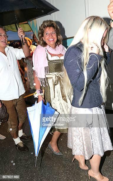 Babette Albrecht widow of Berthold Albrecht Aldi during the 'Almauftrieb' as part of the Oktoberfest 2016 at Kaeferschaenke beer tent on September 18...