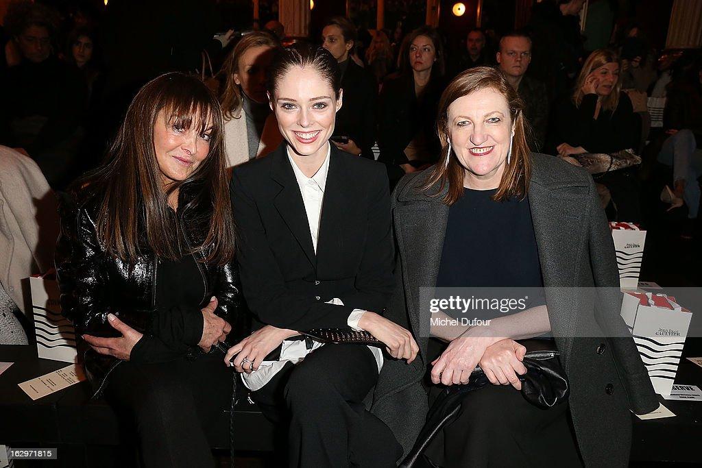 Babette Djian, Coco Rocha and Glenda Bailey attend the Jean Paul Gaultier Fall/Winter 2013 Ready-to-Wear show as part of Paris Fashion Week on March 2, 2013 in Paris, France.