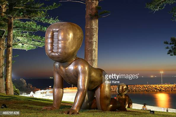 'Babies' by artist David Cerny is seen at Sculpture By The Sea at Cottesloe Beach on March 5 2015 in Perth Australia