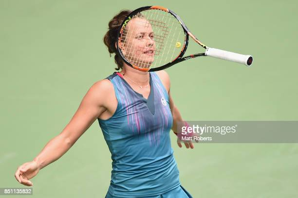 Babora Strycova of Czech Republic reacts in her quarter final match against Anastasia Pavlyuchenkova of Russia during day five of the Toray Pan...