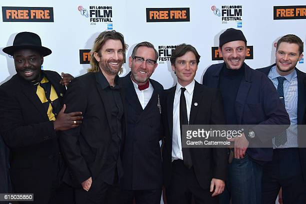 Babou Ceesay Sharlto Copley Michael Smiley Cillian Murphy Enzo Cilenti and Jack Reynor attend the 'Free Fire' Closing Night Gala screening during the...