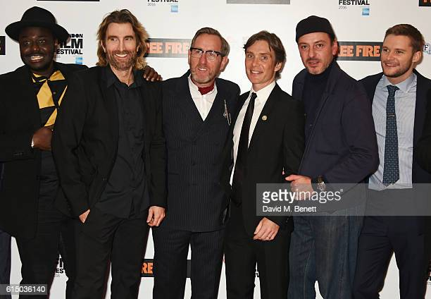 Babou Ceesay Sharlto Copley Michael Smiley Cillian Murphy Enzo Cilenti and Jack Reynor attend the 'Free Fire' Closing Night Gala during the 60th BFI...