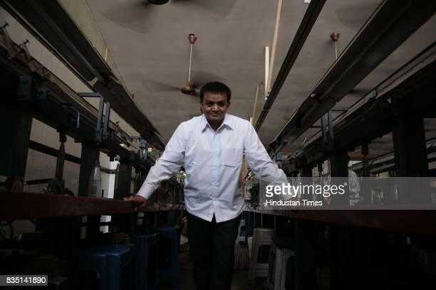 Babubhai Patel at his diamond polishing factoy in Dahisar
