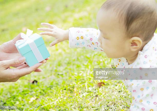 Baby and giftbox