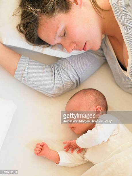 Baby and mother sleeping