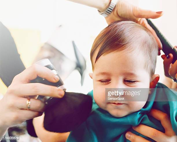 Baby at the hair salon