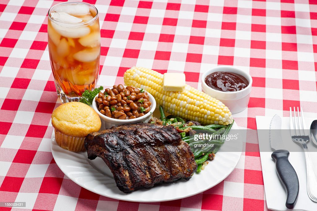 Baby Back Pork Ribs, Baked Beans, Corn on the Cob : Stock Photo
