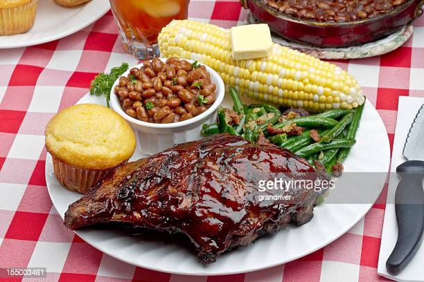 Baby Back Pork Ribs, Baked Beans, Corn on the Cob