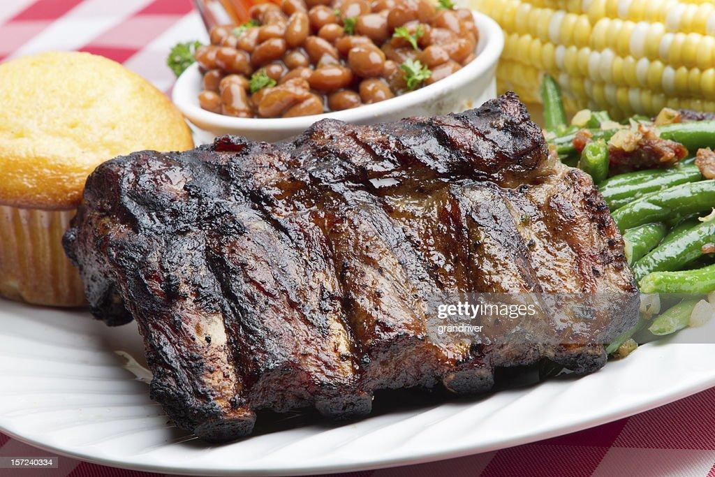 Baby Back Pork Ribs, Baked Beans, Corn on the Cob