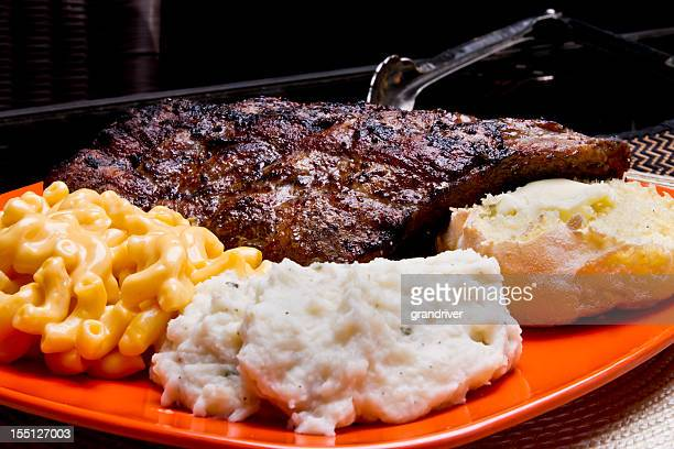 Baby Back Pork Ribs, Mac and Cheese, Mashed Potato, Roll