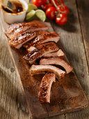 Baby Back Pork Ribs on a Cutting Board