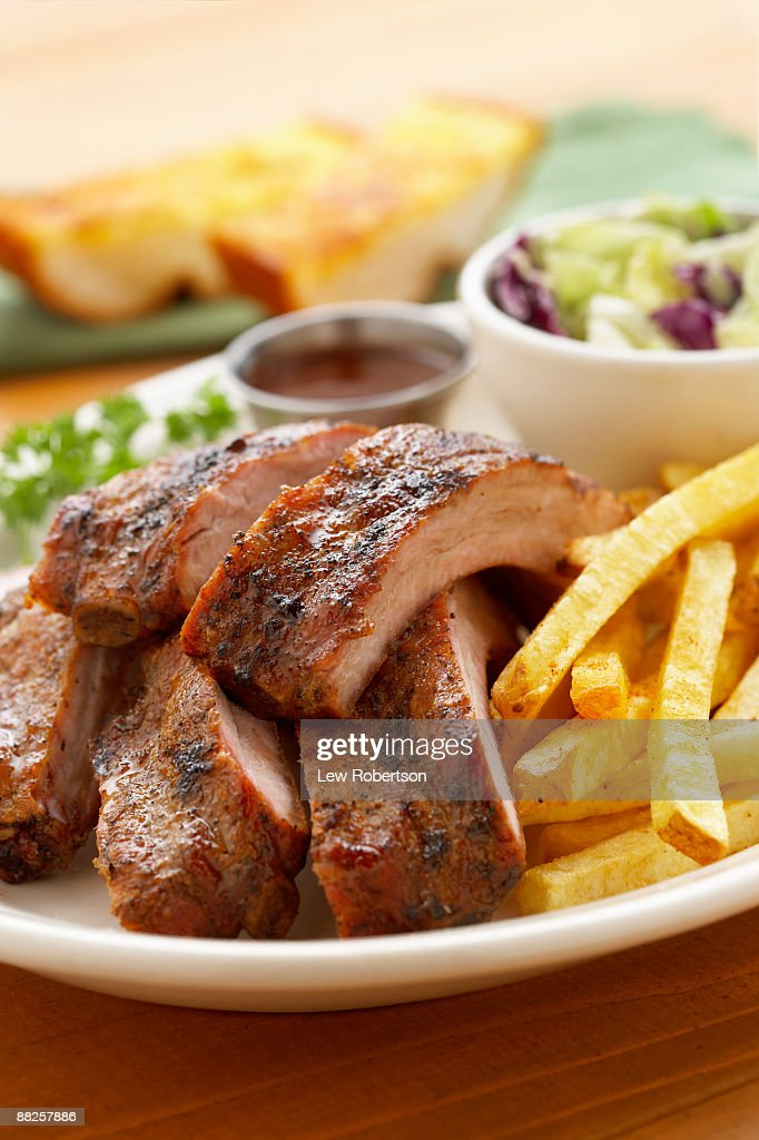 Baby Back Ribs with French Fries : Stock Photo